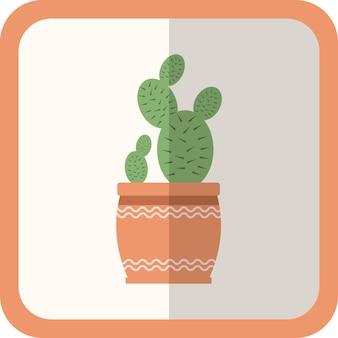 냄비에 벡터 녹색 평면 식물입니다. 그림자가 있는 간단한 아이콘입니다. 디자인, 게임, 개념을 위한 꽃 원예 장식 요소입니다.