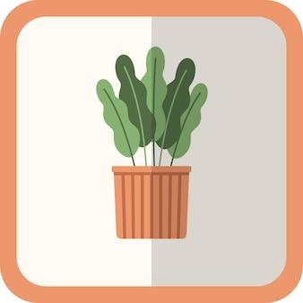 鍋に緑の平らな植物をベクトルします。影付きのシンプルなアイコン。デザイン、ゲーム、コンセプトのための花の園芸装飾要素。