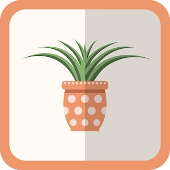 Vector green flat plant in the pot. simple floral icon with shadow. cartoon gardening decorative element for design, game, concepts.