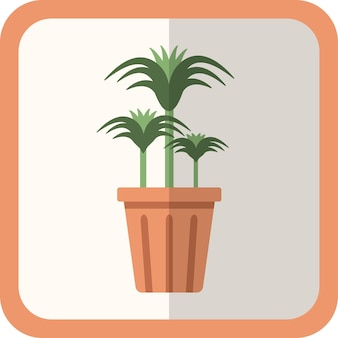 Vector green flat plant in the pot. simple icon with shadow. floral gardening decorative element for design, game, concepts.