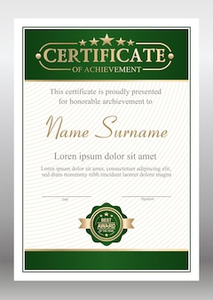 Vector green and gold certificate template