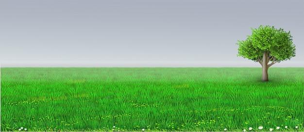 Vector green horizon background tree