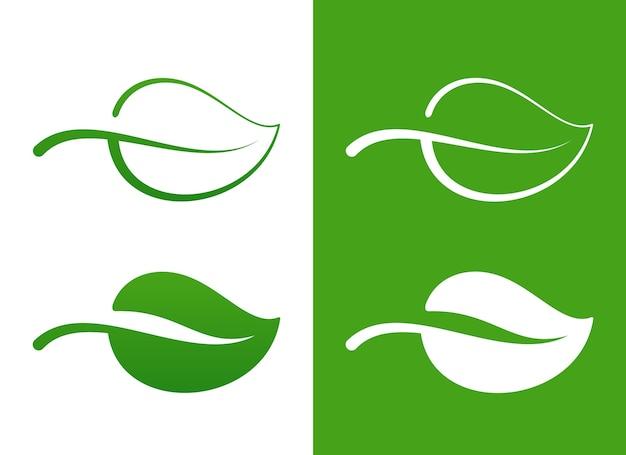 Векторные иконки зеленый лист над белой экологической концепцией