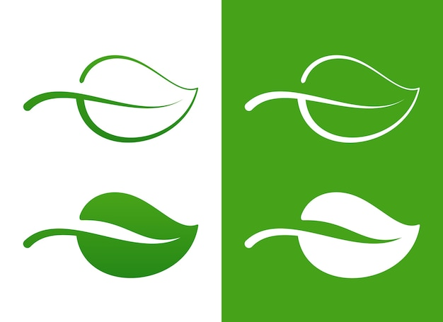 Vector green leaf icons over white eco concept