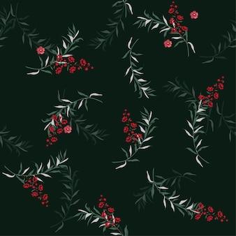 녹색 나뭇잎과 열매 패턴 벡터