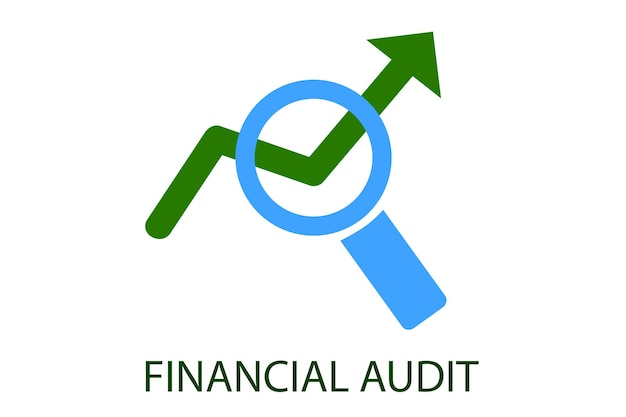 Vector green and light blue logo for financial audit institution, club education and other related