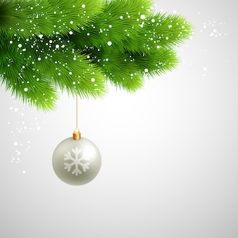 Vector green pine branches with white ball.