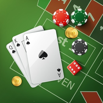Vector green poker table with playing cards, red dice, gold coins and stacks of casino chips top view