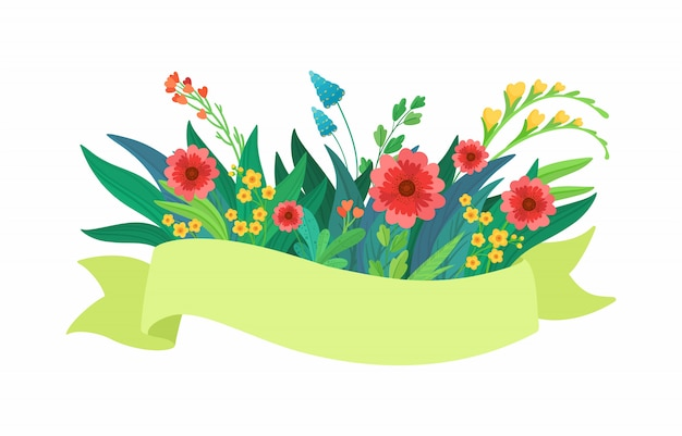 Vector green ribbon with flowers