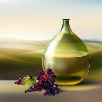 Vector green round bottle of white wine and red grapes isolated on background with valley