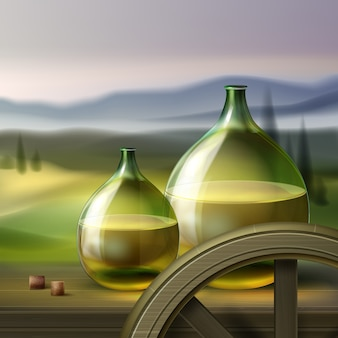 Вектор зеленые круглые бутылки белого вина и деревянное колесо, изолированные на фоне с долиной