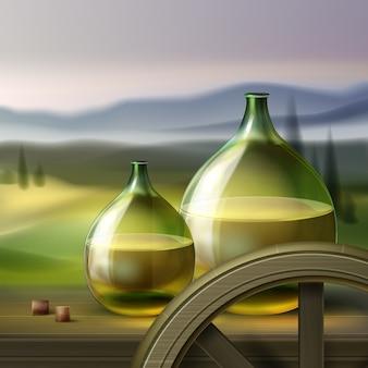 Bottiglie rotonde verdi di vettore di vino bianco e ruota di legno isolata su fondo con la valle