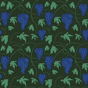ブドウの木の房と葉とベクトル緑シームレスパターン