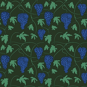 Vector green seamless pattern with vines bunches and leaves