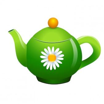 Vector green teapot