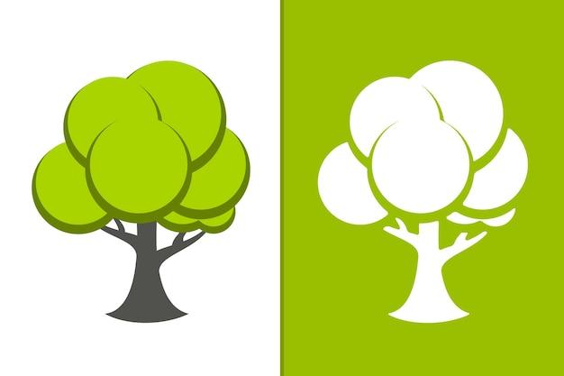 Вектор зеленое дерево и белое дерево значок иллюстрации