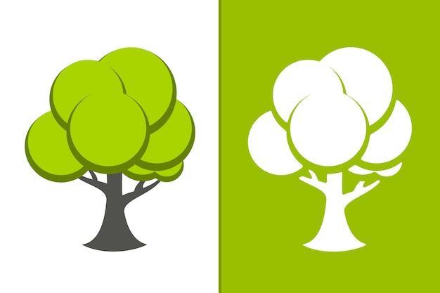 Vector green tree and white tree icon illustration