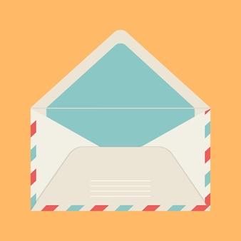 벡터 인사말 카드와 노란색 격리 된 배경에 베이지 색 색상 메일 봉투.