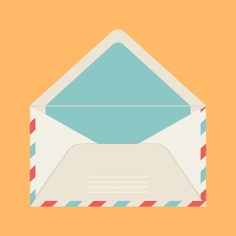 Vector greeting card and beige color mail envelope on yellow isolated background.
