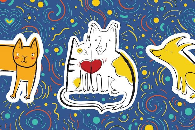 愛の犬と猫とのパーティーのためのベクトルグリーティングカード