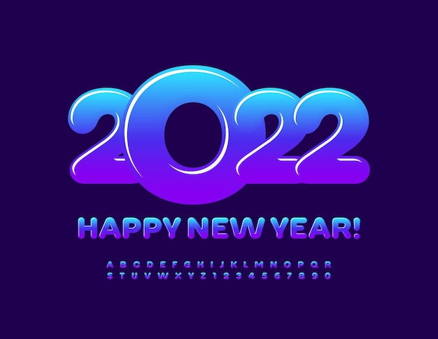 Vector greeting card happy new year 2022 color gradient font bright alphabet letters and numbers