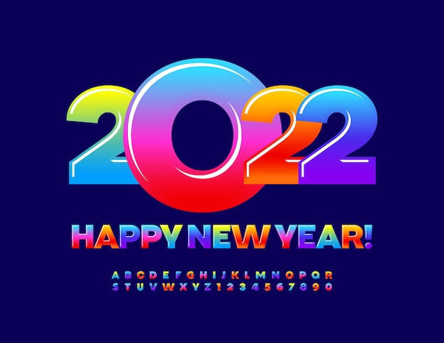 Vector greeting card happy new year 2022 colorful gradient font sweet alphabet letters and numbers