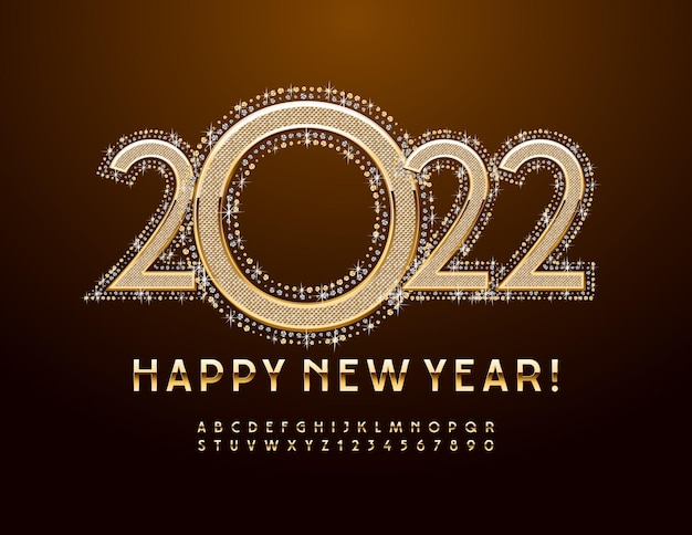 Vector greeting card happy new year 2022 elegant gold font luxury alphabet letters and numbers set