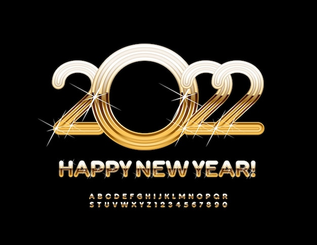 Vector greeting card happy new year 2022 gold alphabet letters and numbers with sparkling stars