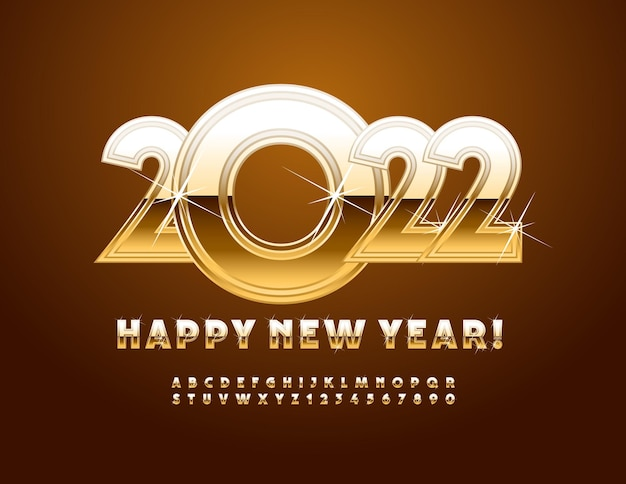 Vector greeting card happy new year 2022 golden alphabet letters and numbers with sparkling stars