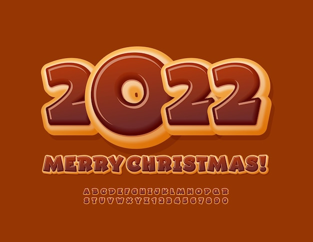 Vector greeting card happy new year 2022 playful style chocolate donut font tasty alphabet set