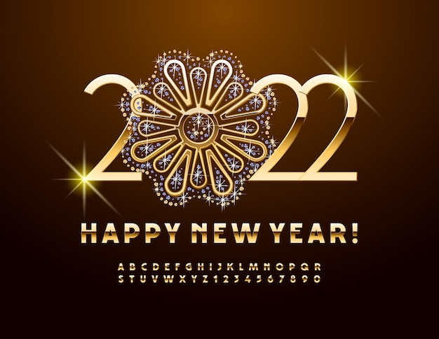 Vector greeting card happy new year 2022 with decorative brilliant jewels flower gold alphabet set