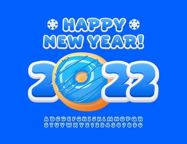 Векторная поздравительная открытка с новым годом с декоративным пончиком, милый синий шрифт, игривый алфавит