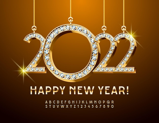 Vector greeting card happy new year with diamond christmas toys 2022 elegant gold alphabet
