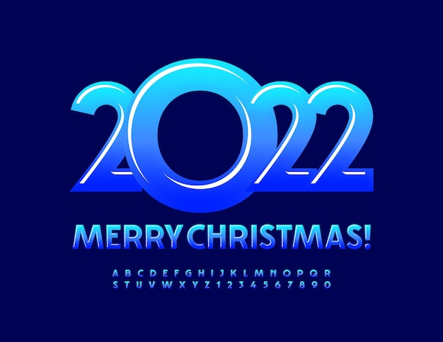 Vector greeting card merry christmas 2022 blue gradient font glossy alphabet letters and numbers