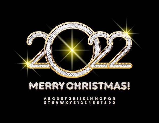 Vector greeting card merry christmas 2022 brilliant pattern font chic alphabet letters and numbers