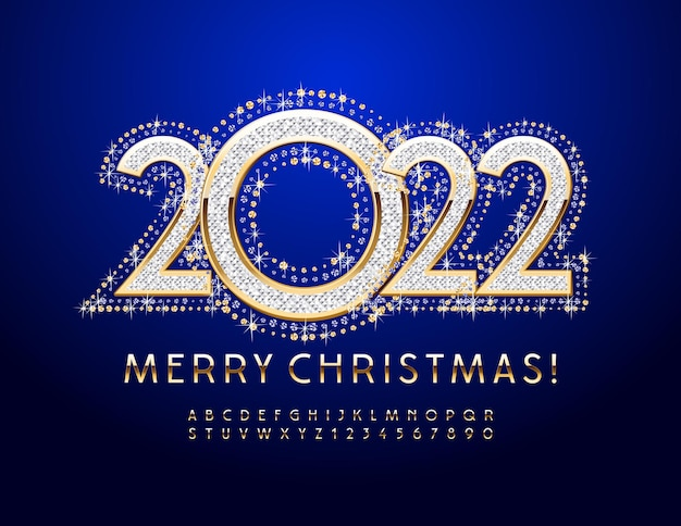 Vector greeting card merry christmas 2022 elegant gold font chic alphabet letters and numbers set