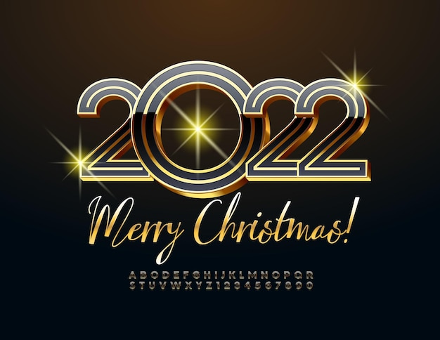 Vector greeting card merry christmas 2022 exclusive black and gold alphabet letters and number