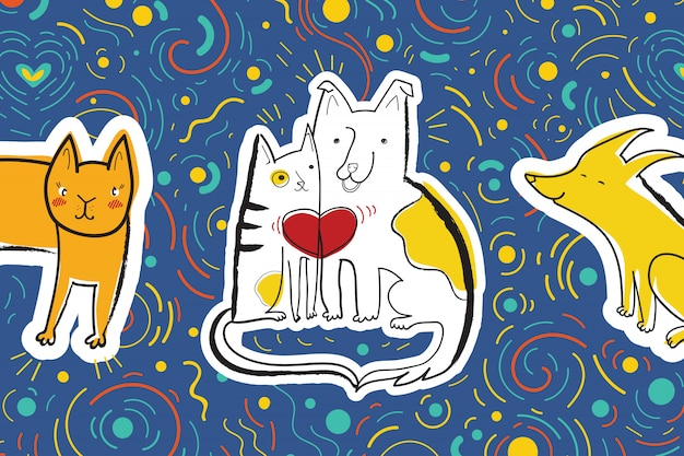 Vector greeting card for the party with dog and cat in love