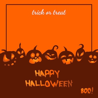 Vector greeting card with angry pumpkins for halloween