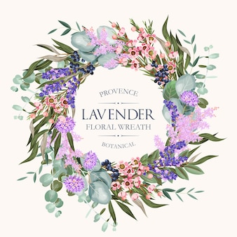Vector greeting card with high detailed lavender and other flowers and foliag7e
