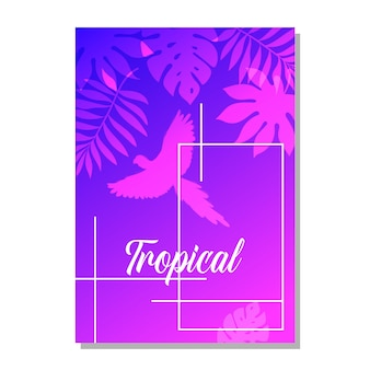 Vector greeting card with tropical plants for a holiday or a party. an invitation to a wedding. the outline of a parrot.
