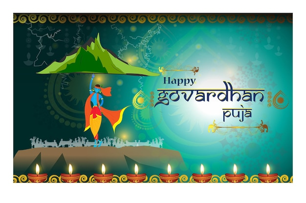 Govardhan puja 힌두교 축제의 벡터 인사말