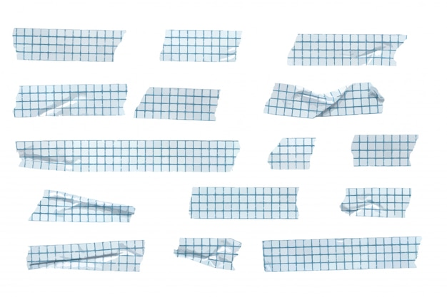 ベクトルグリッドパターン和紙テープストライプコレクション、しわと折りたたみ和紙テープ