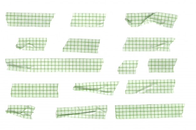 Vector grid patterned washi tape stripes collection, wrinkled and folded washi tapes