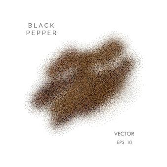 Вектор молотый черный перец порошок