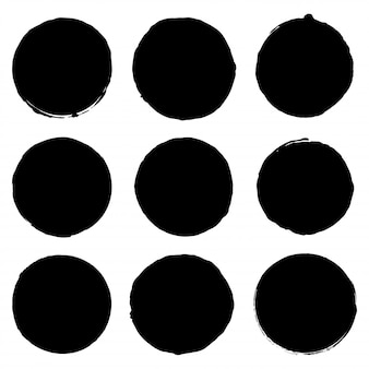 Vector grunge ink brush. circle border sets