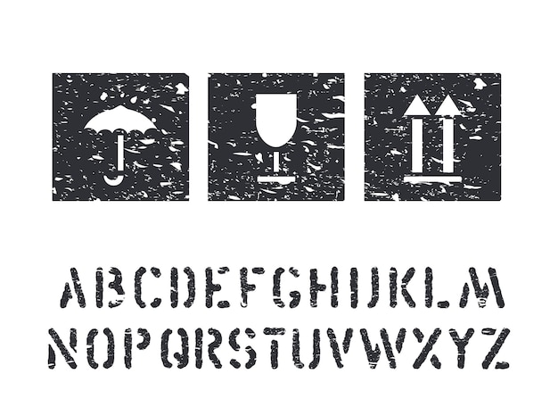 물류, 화물을 위한 벡터 그루지 고무 상자 표지판 및 화물 알파벳입니다. 유리, 우산, 화살표 표준 블랙 아이콘 절연