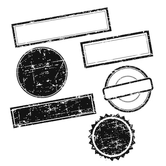 テキストなしのベクトルグランジスタンプ。スタンプのセット。