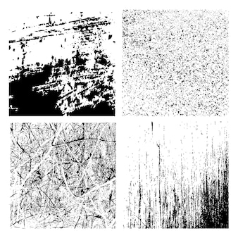 Vector grunge textures set - abstract black and white backgrounds.
