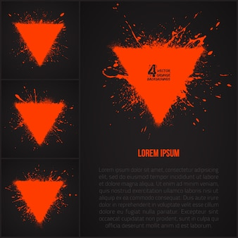 Vector grunge triangle abstract shapes set